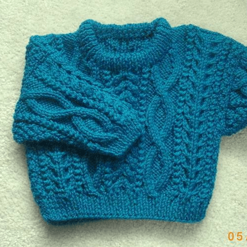 Aran Baby Sweater Knitting Pattern