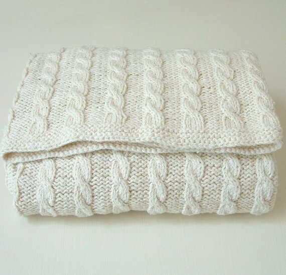 Baby Blanket Cabled Knitting Pattern Instruction