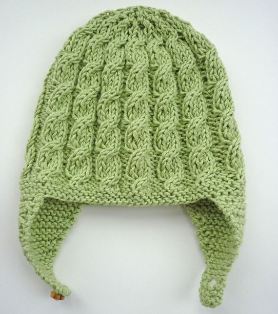 Baby Earflap Cabled Hat Knitting Pattern