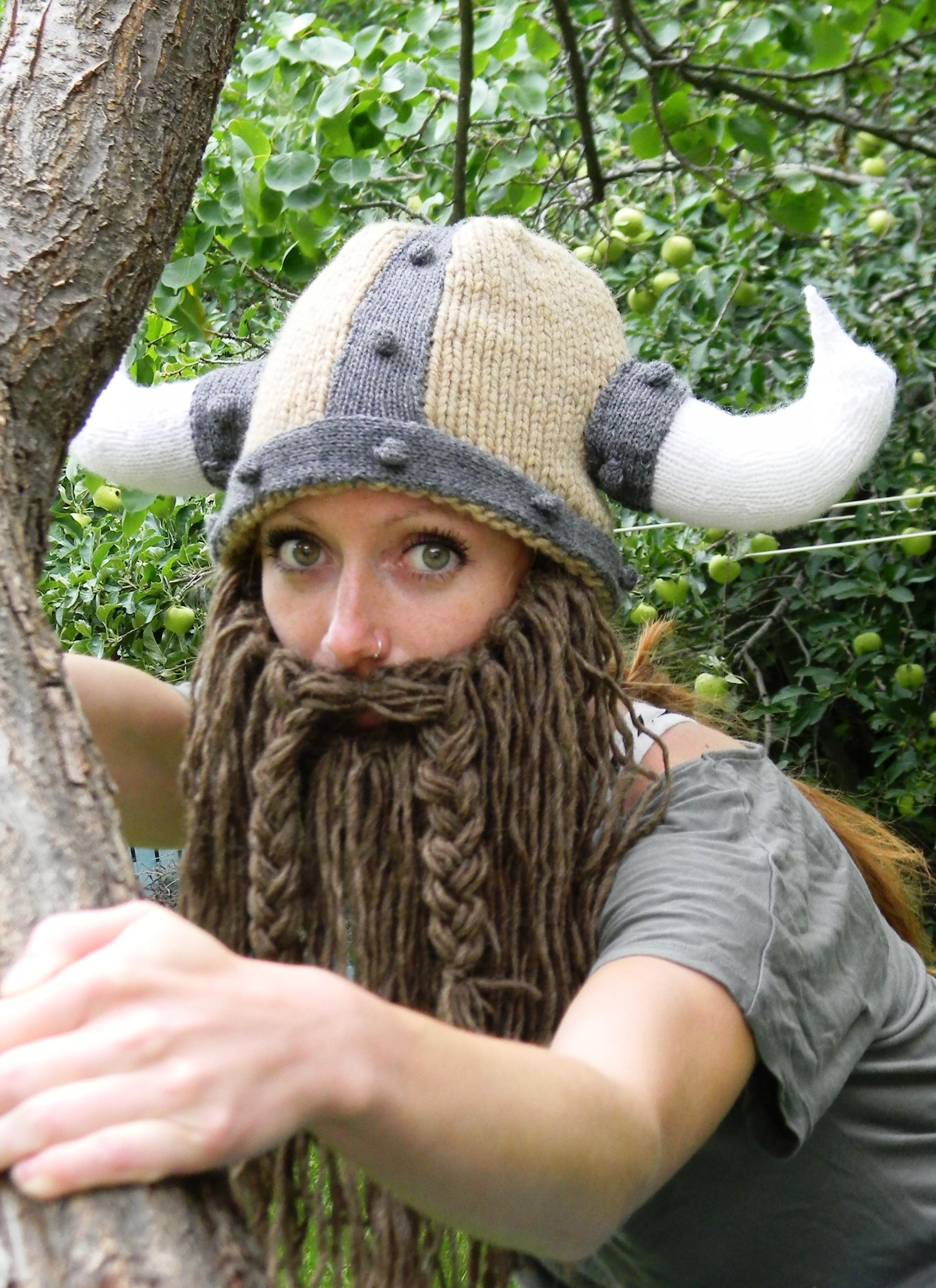 Bearded Viking Helmet Hat Knitting Pattern