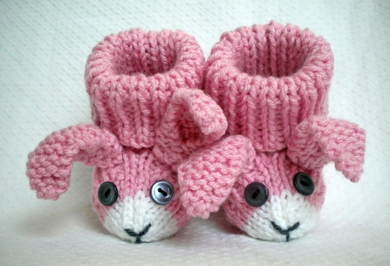 Bunny Rabbit Baby Booties Knitting Pattern