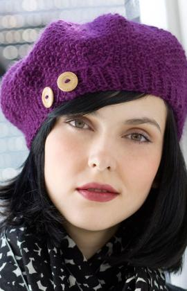 Buttoned Beret Hat Knitting Pattern Photo