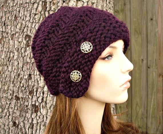 Buttoned Cloche Hat Knitting Pattern