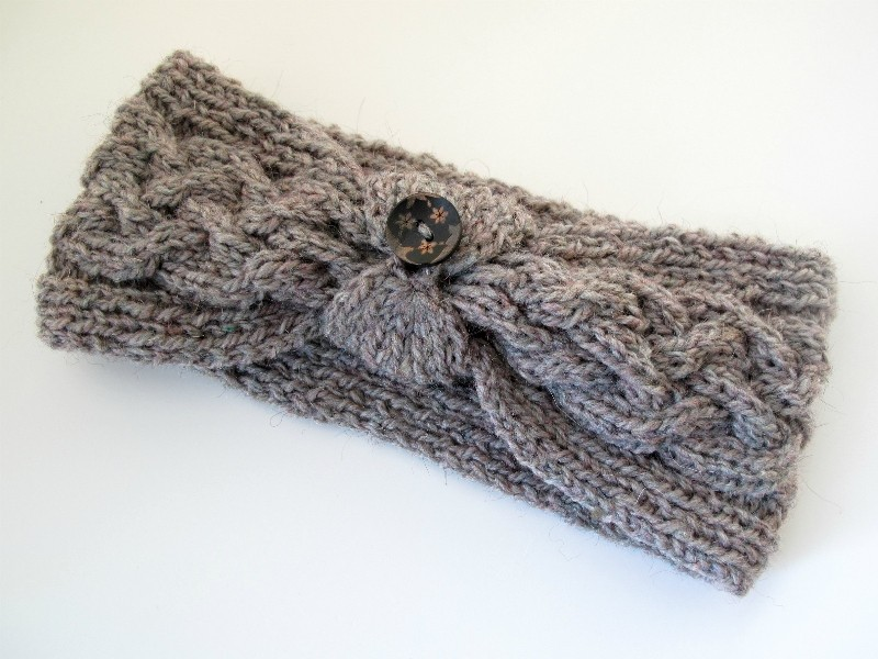 Cable Knit Buttoned Headband Patterns