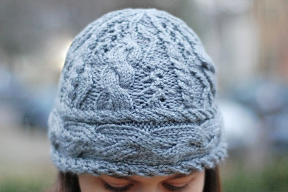 Cable and Eyelet Knit Hat Pattern For Women