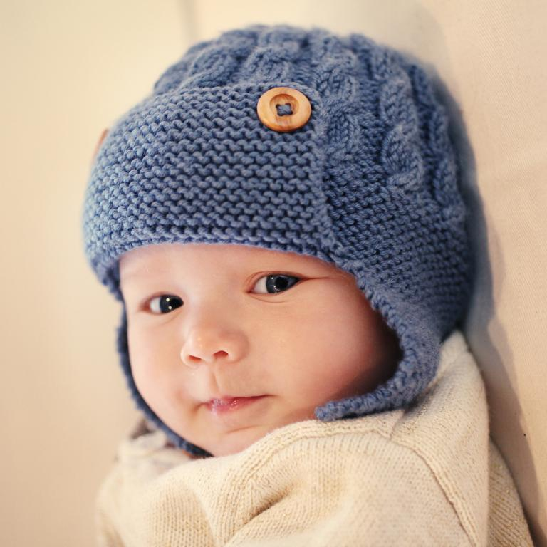 Photo of Cabled Baby Aviator Hat Dayton Knitting Pattern Instruction