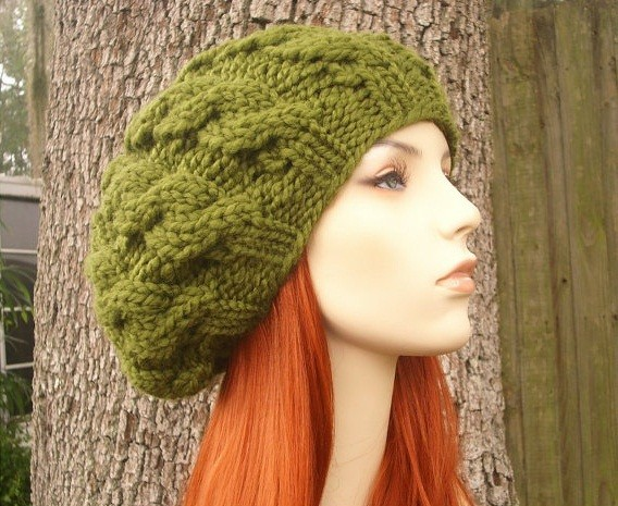 Cabled Beret Hat Knitting Pattern