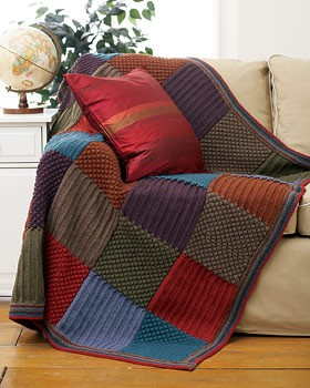 Checkered Knit Blanket Afghan Pattern