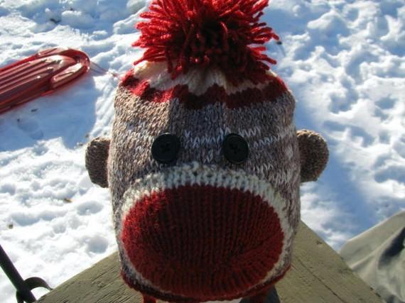 Cheeky Sock Monkey Knit Hat Pattern with Earflaps
