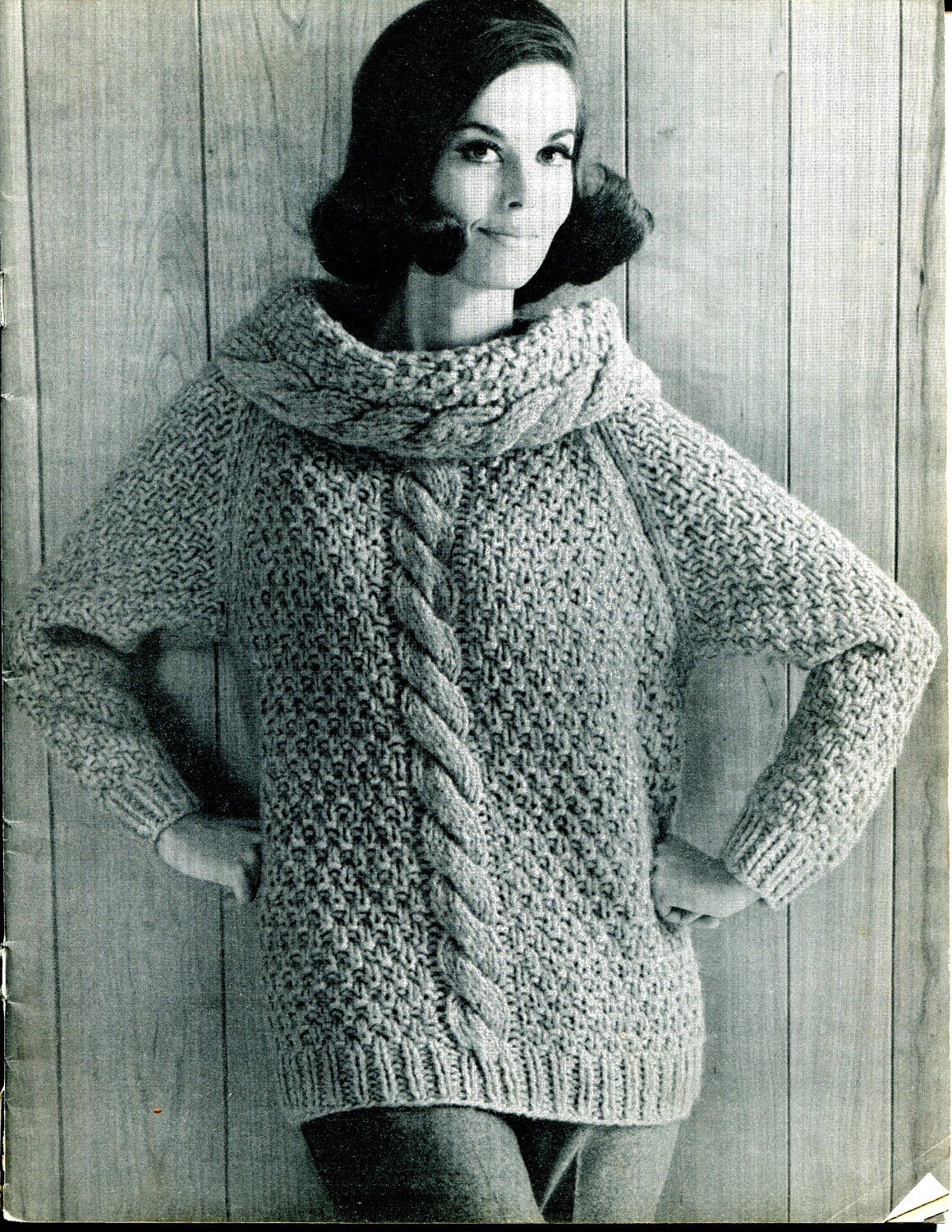 Chunky Cable Knit Cowl Sweater Pattern