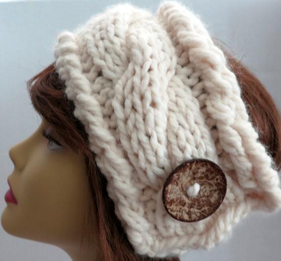 Chunky Headband Earwarmer Cable Knitting Pattern