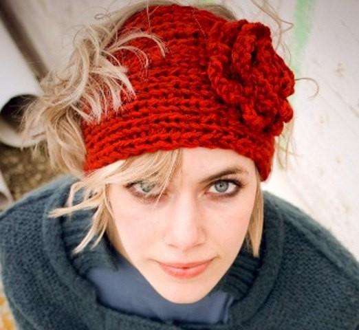 Chunky Headband with Flower Knitting Pattern