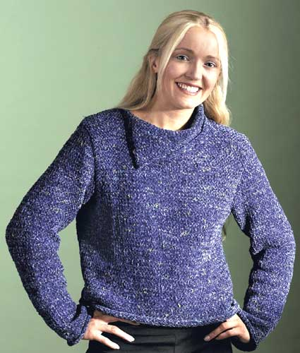 Chunky Split Neck Sweater Knitting Pattern