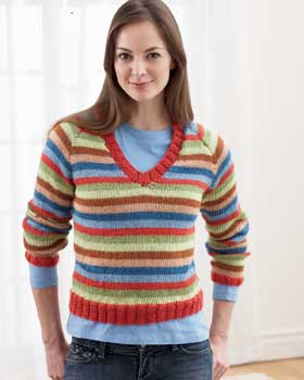 Colorful Striped Sweater Knitting Pattern For Women