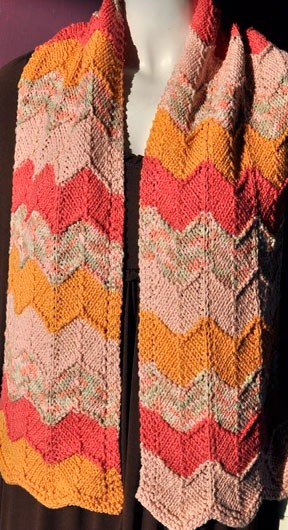 Cotton Twirl Chevron Scarf Knitting Pattern