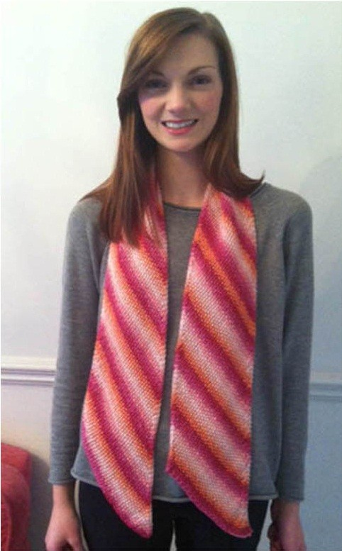 Diagonal Striped Scarf Knitting Pattern
