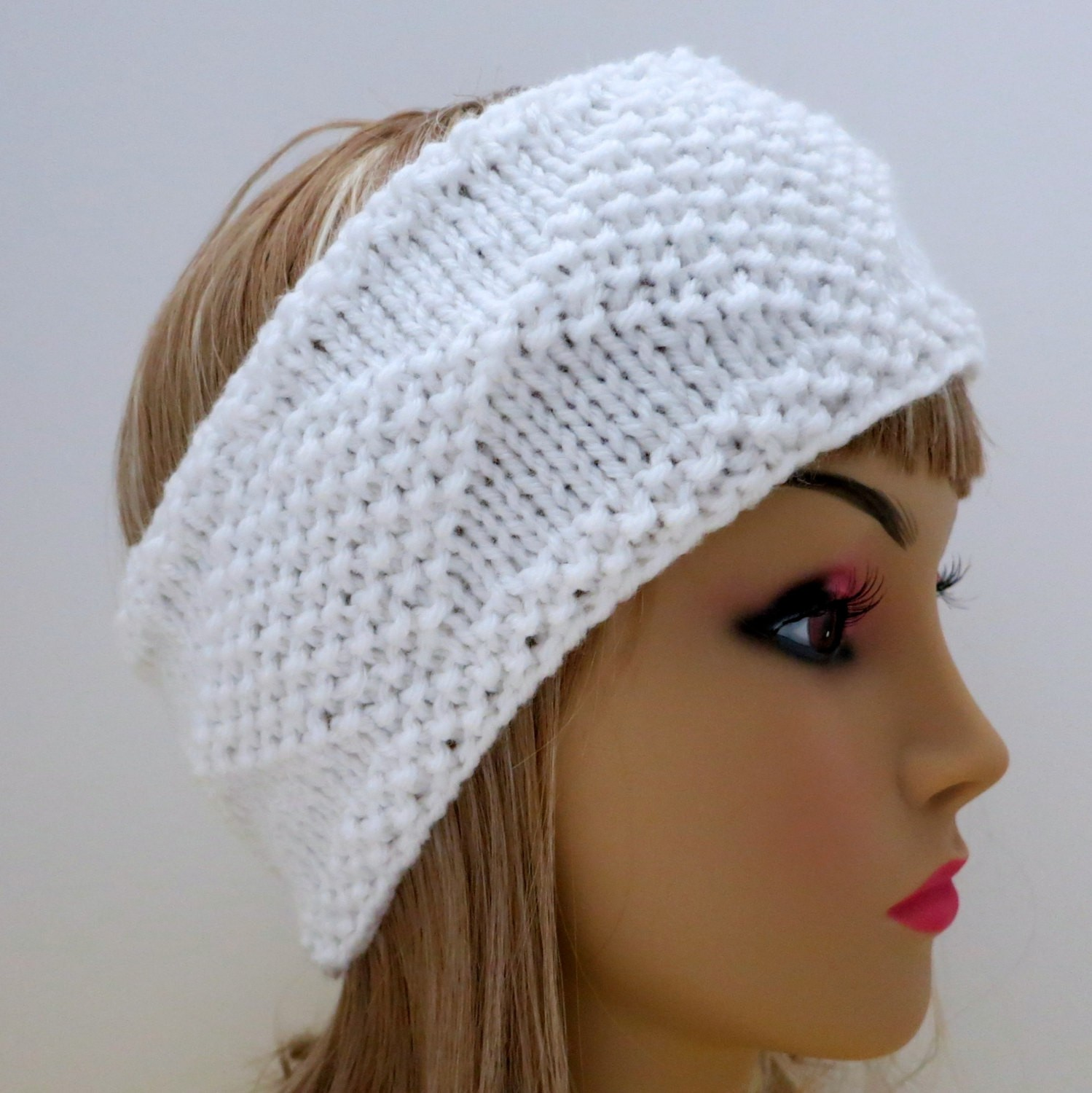Diamond Ear Warmer Knitting Pattern Picture