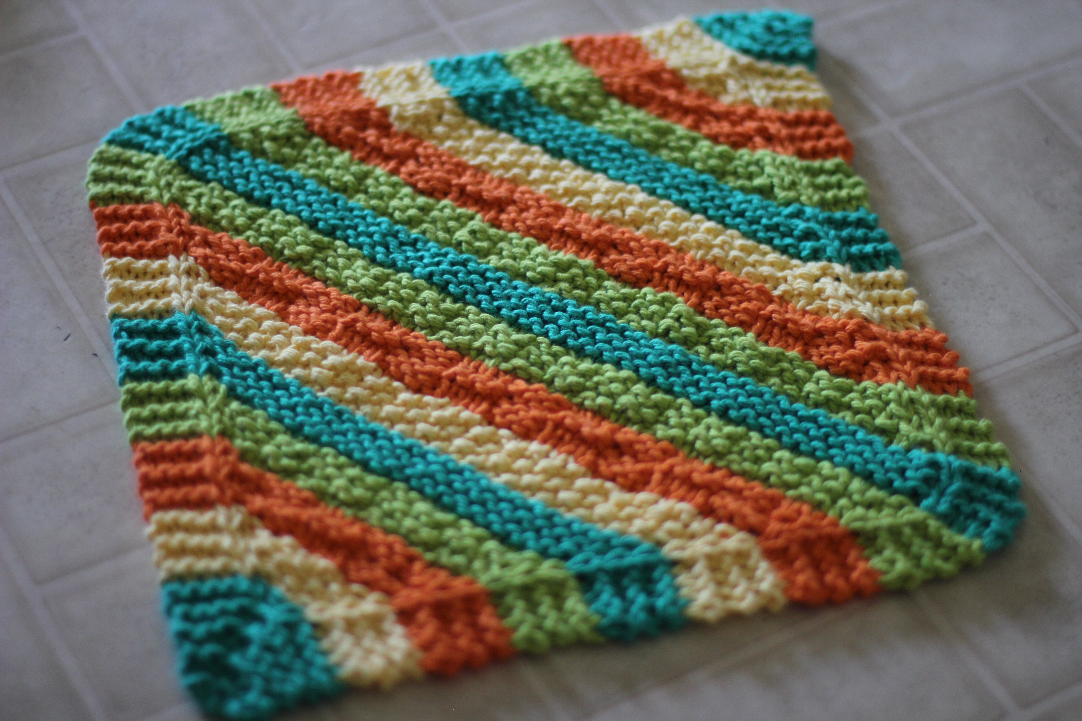 Digonal Knit Dishcloth Pattern