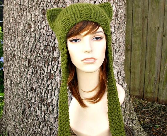 Ear Flap Cat Hat Chunky Knit Pattern