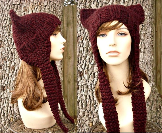 Ear Flap Cat Hat Knitting Pattern