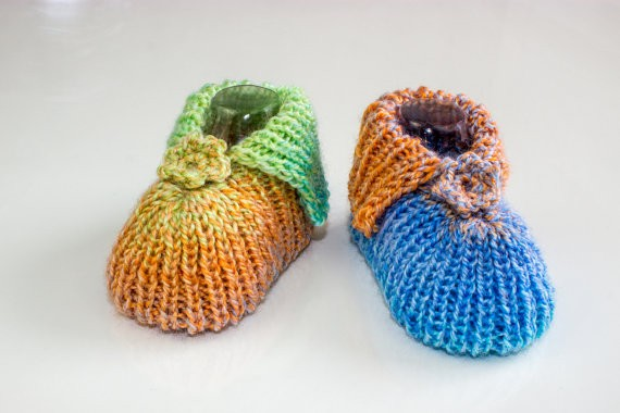 Easy Baby Booties Knitting Rib Pattern
