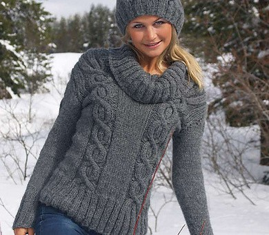 Picture of Easy Cables Knitt Sweater Pattern