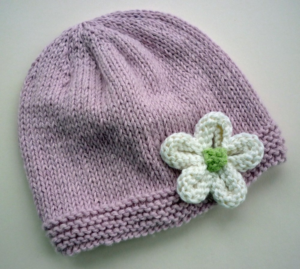 Easy Simple Hat with Flower Knitting Pattern