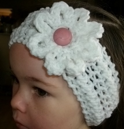 Pictures of Easy Two Color Knitting Headband with Flower Pattern