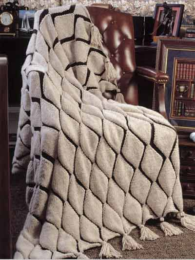 Embossed Diamonds Afghan Knitting Pattern