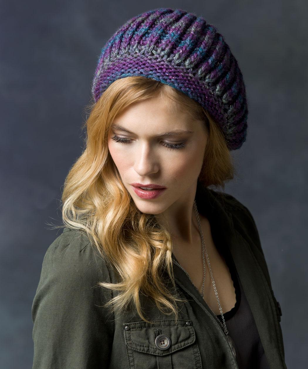 Faux Brioche Beret Knitting Hat Pattern