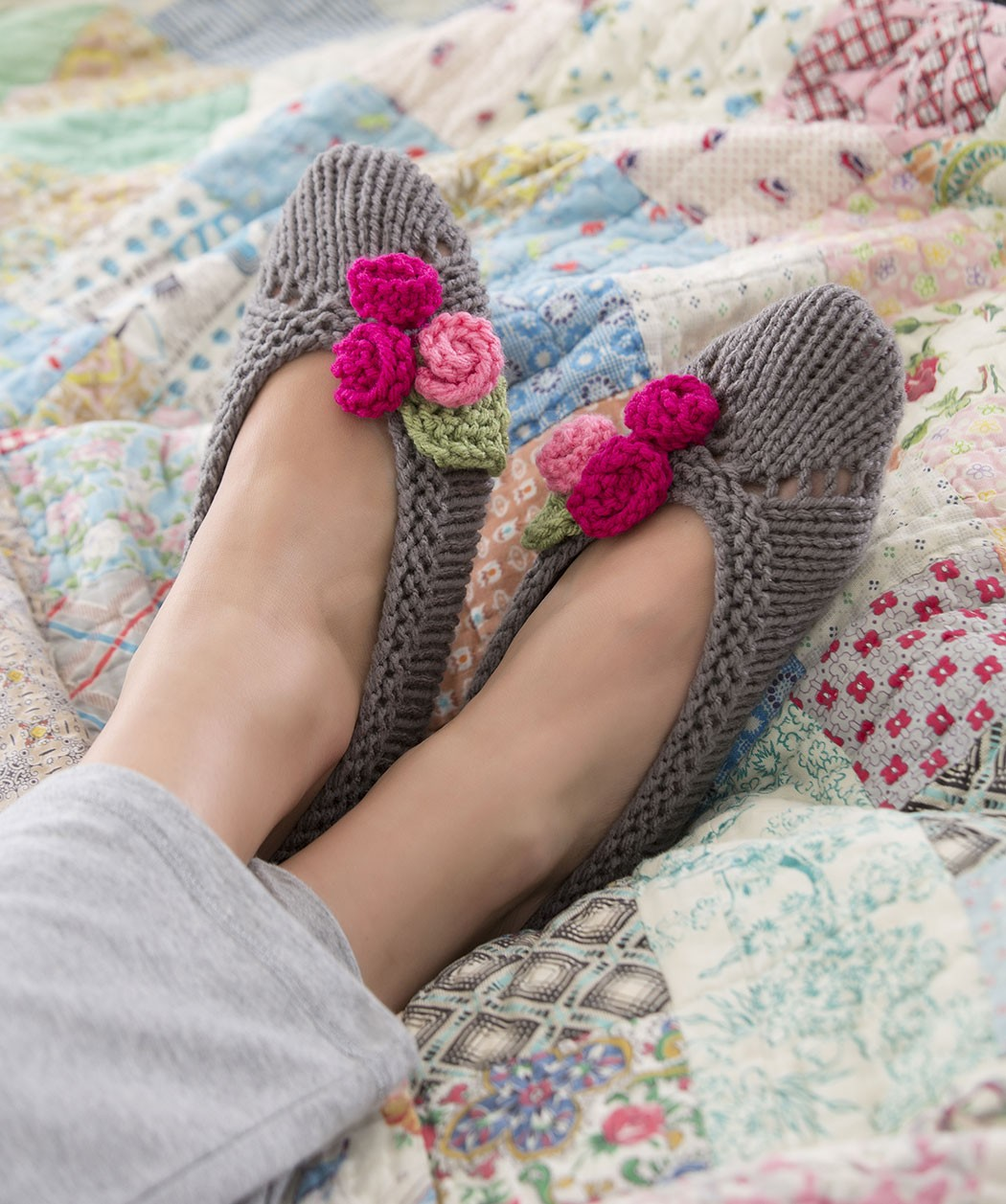 Pictures of Flower Slipper Knitting Pattern