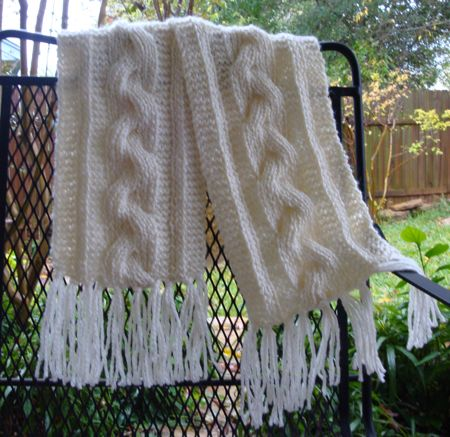 Free Bulky Reversible Cable Braid Scarf Pattern
