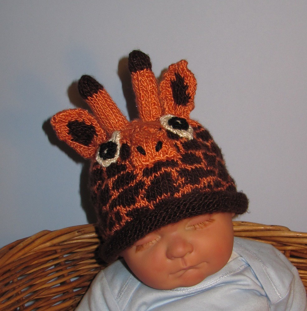 Giraffe Hat Knitting Pattern with Rolled Brim Tutorial