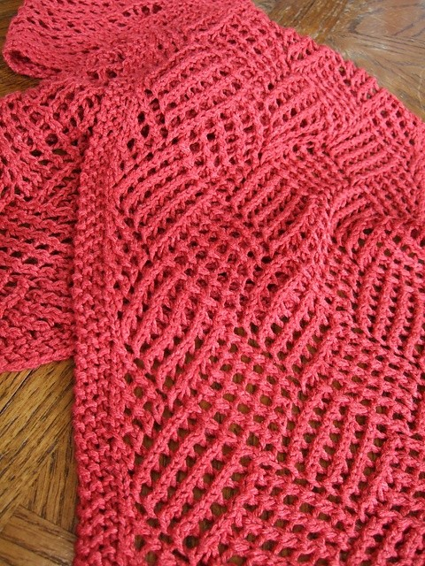 Gridwork Reversible Knitting Scarf Pattern Photos