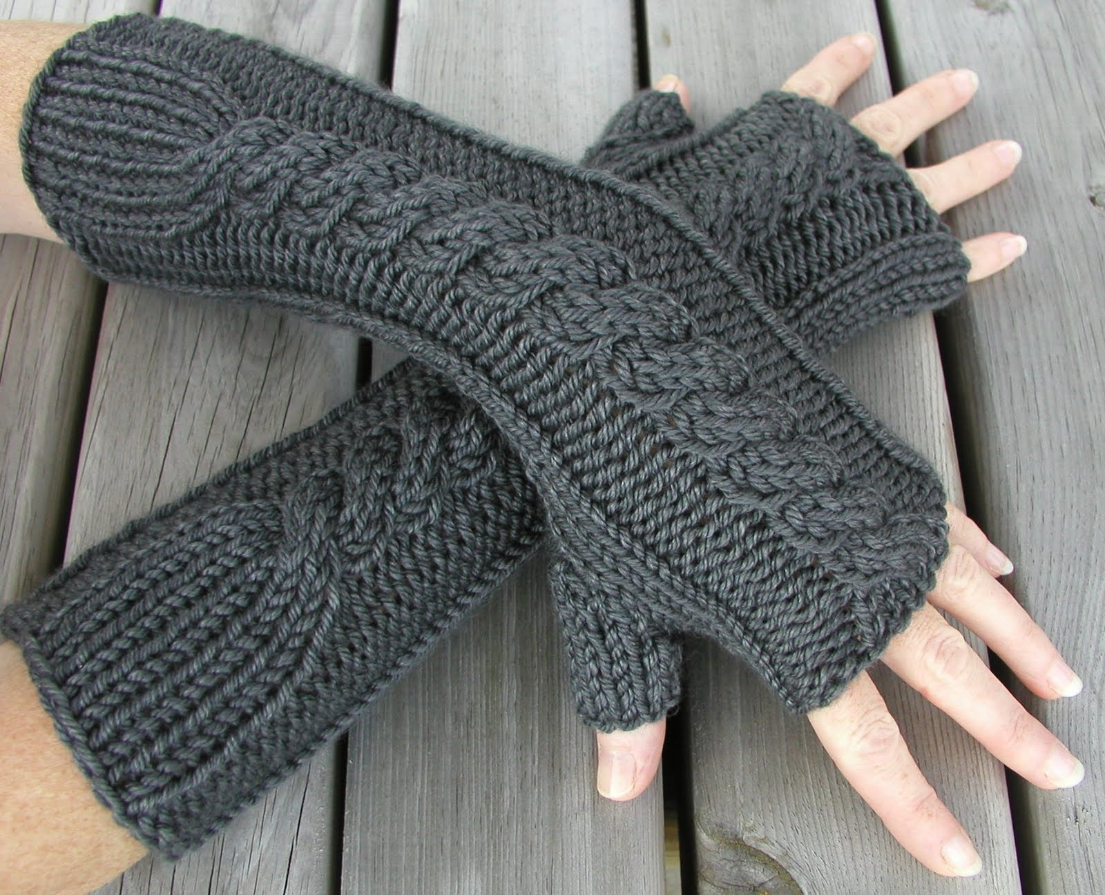 Hand and Arm Warmer Finger Less Gloves Knitting Pattern