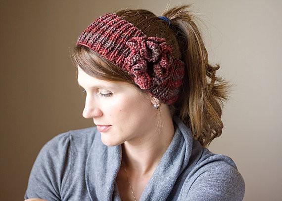 Headband with Flower Knitting Pattern