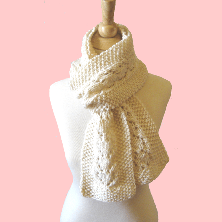 Heart Lace Knit Scarf Pattern