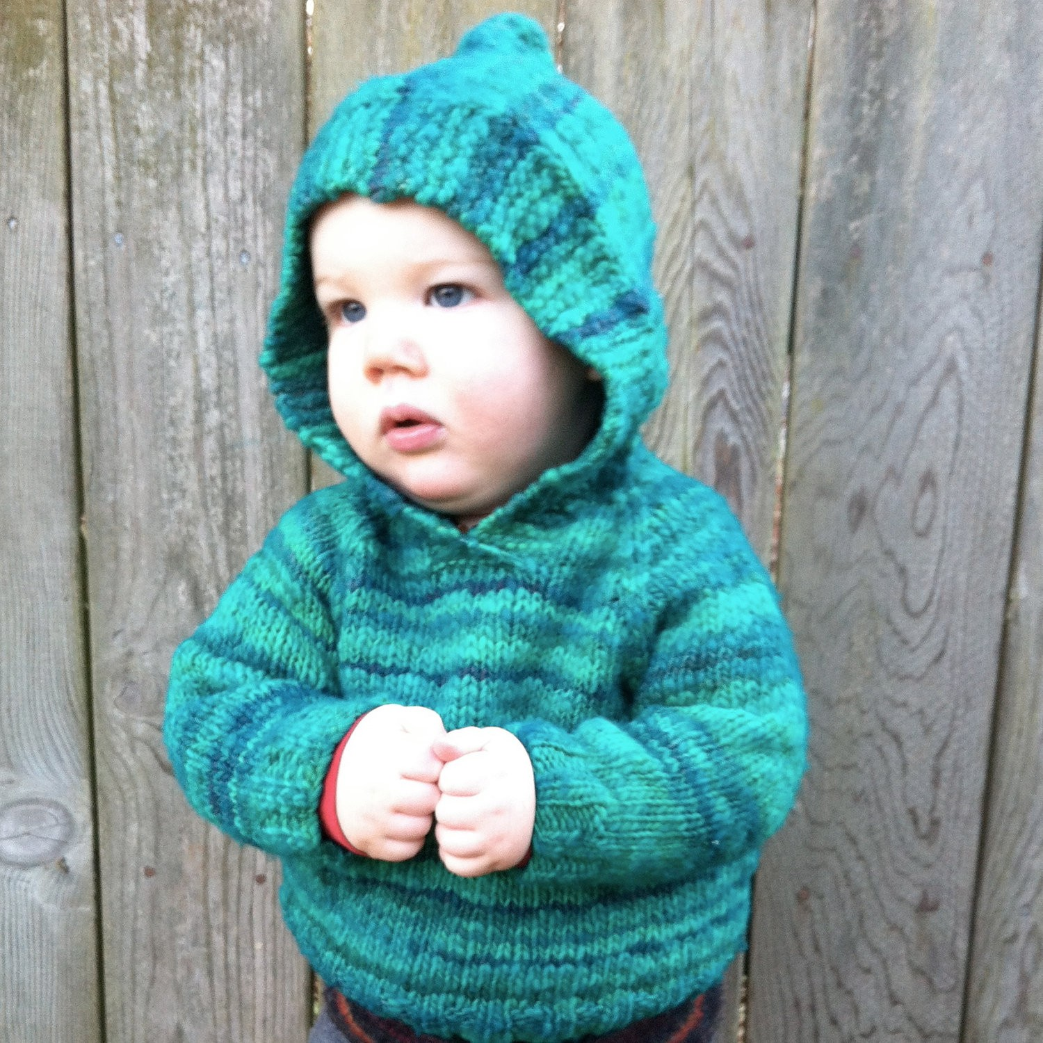 Hooded Baby Sweater Knitting Pattern