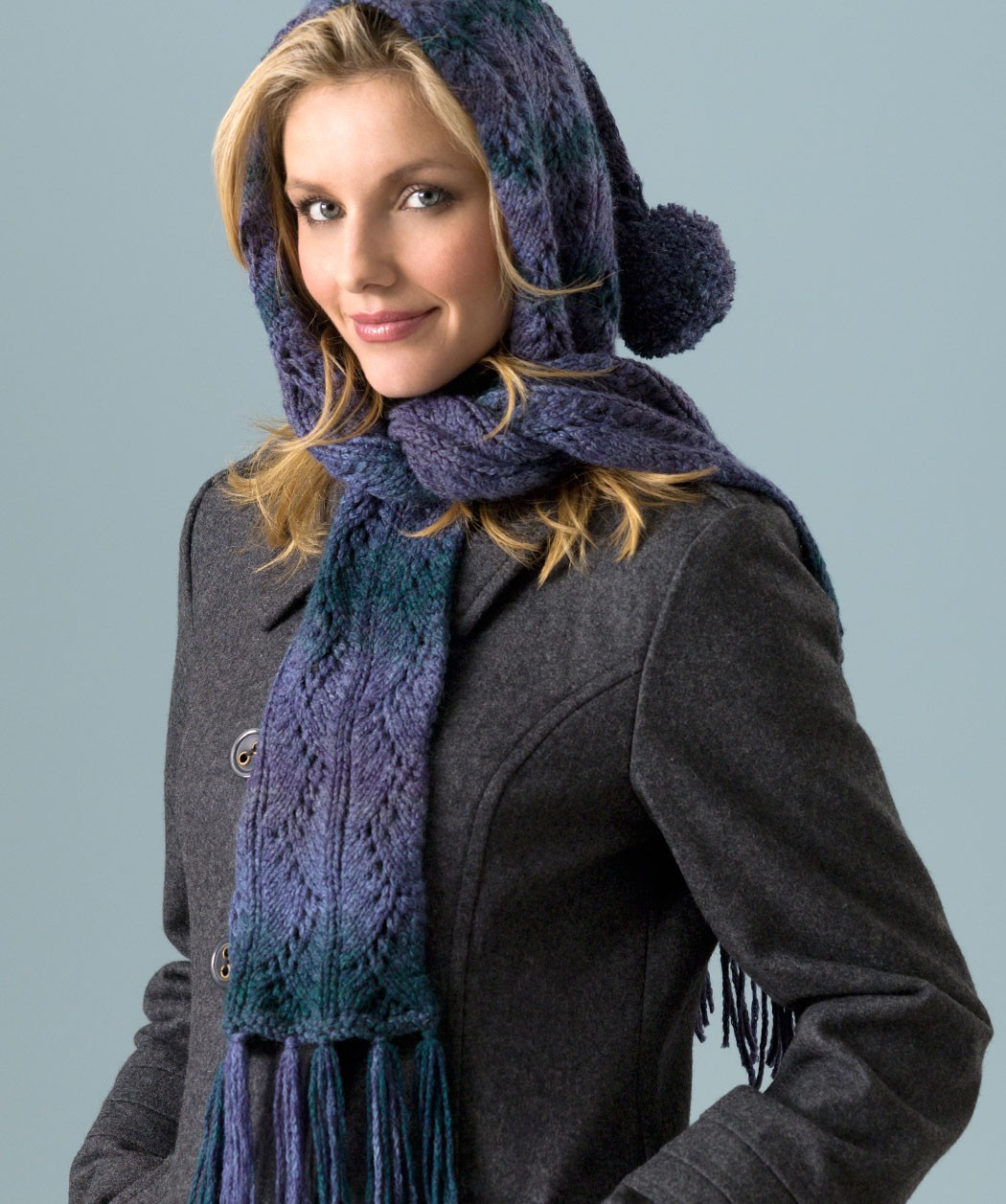 Hooded Lace Scarf Knitting Pattern Tutorial
