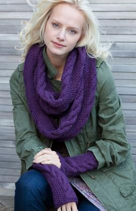 Infinity Cowl and Wristers Knitting Pattern Images