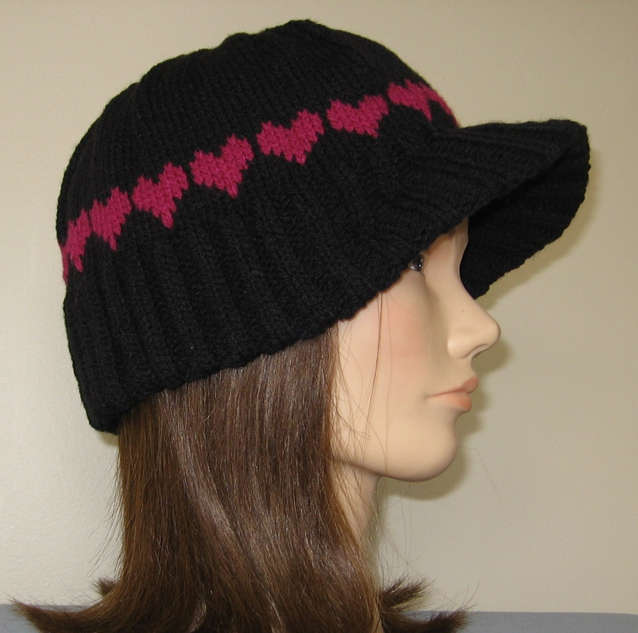Knit Beanie with Visor Hat Pattern