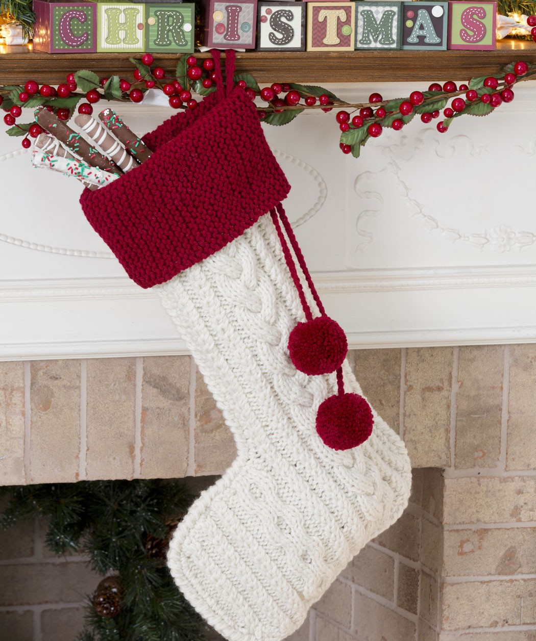 Knit Cable Stocking Christmas Pattern