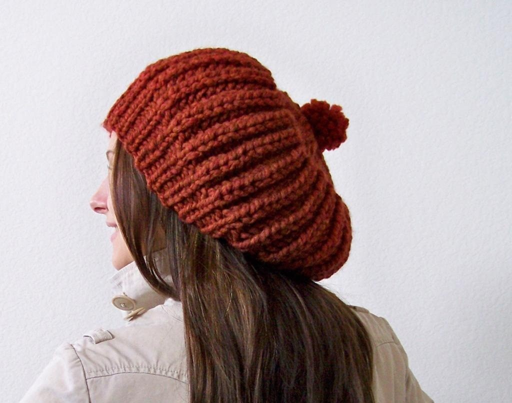 Knit Slouchy Beanie with Pom Pom Pattern Photos