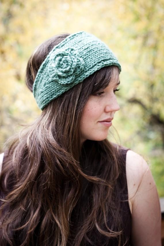 Knitted Flower Headband Earwarmer Pattern