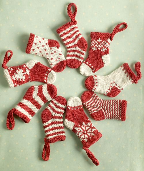 Knitted Mini Christmas Stockings Pattern