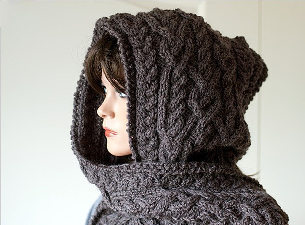 Knitting Pattern for Hooded Scarf Ingrid