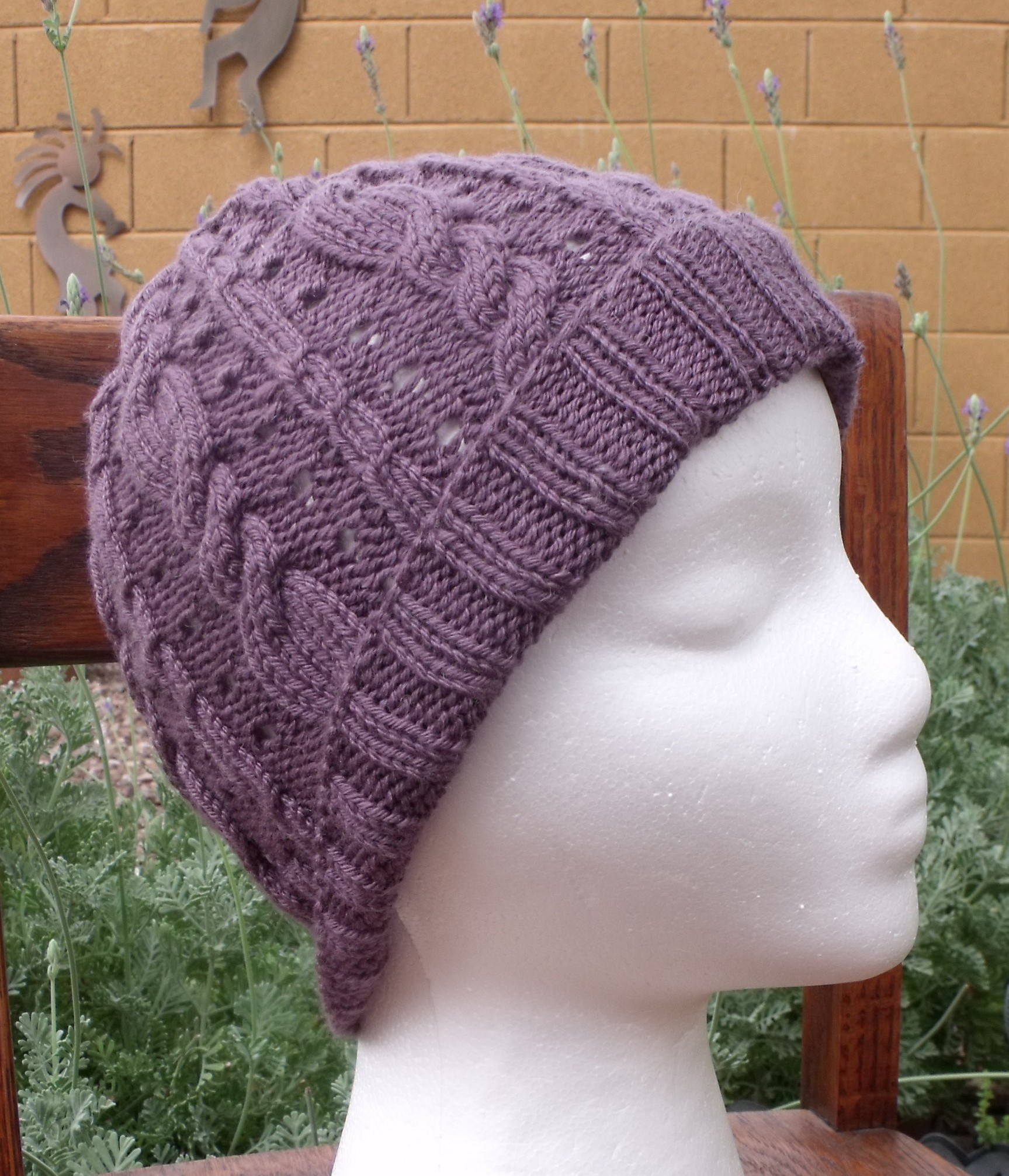Lavender Cables Hat Knitting Pattern