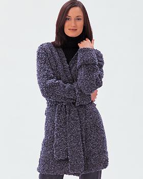 Long Boucle Wrap Chunky Sweater Knitting Pattern