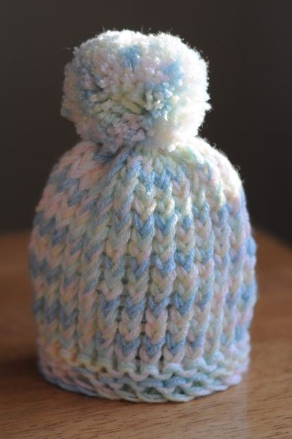 Loom Knit Puff Ball Infant Hat