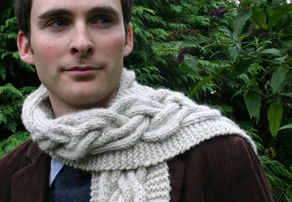 Mens Chunky Knitted Cable Scarf Knitting Pattern